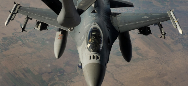 An F-16 Falcon being refueled after an airstrike on ISIL targets in Syria